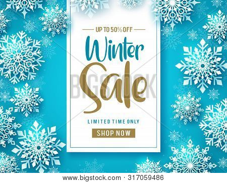 Winter Sale Vector Banner Design. Winter Sale Promo Text With Cold White Snowflakes In Blue Backgrou
