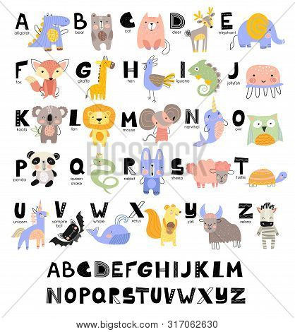 Funny Alphabet For Young Children With Names And Pictures Of Animals Assigned To Each Letter. Learni
