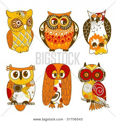 Collection of six different owls poster