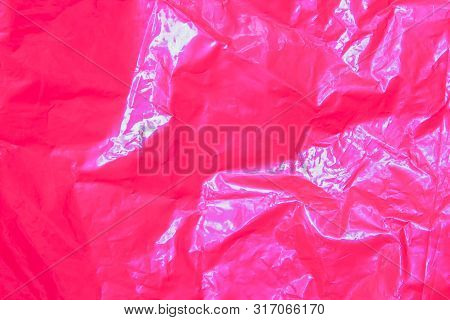 Wall Surface Plastic Texture. Abstract Background With Pink Shapes In Top View. Plastic Rough Surfac