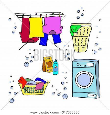 Laundry Doodle Set. Washing Machine, Washing Clothes, Laundry Detergent, Laundry Basket, Clothes Dry