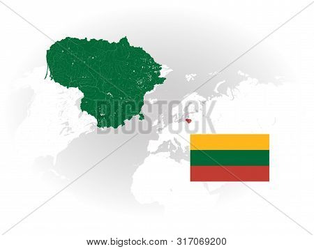 Map Of Lithuania With Rivers And Lakes, National Flag Of Lithuania And World Map As Background. Plea