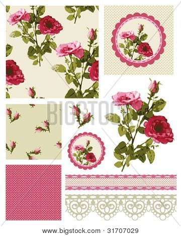 Classic Rose Vector Seamless Patterns and Icons.  Use to create fabulous textile designs or digital paper.  Brilliant for Mother's Day too.