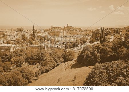 Lovely Aerial View From Scottish Edinburgh Castle Scotland