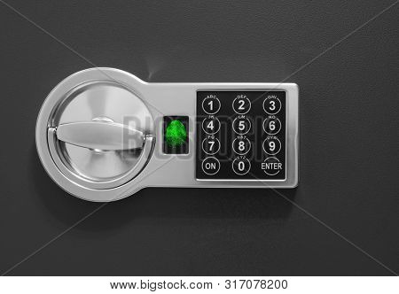 Safe box with code and fingerprint scanner lock