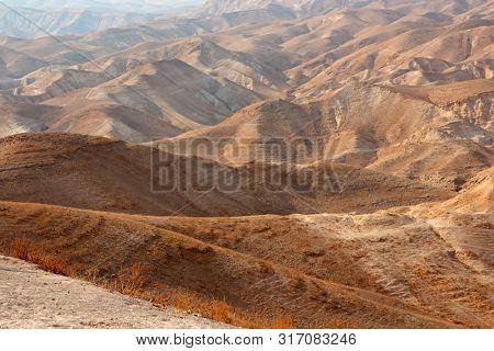 Scenic mountainous Judean desert landscape near Jericho, Israel