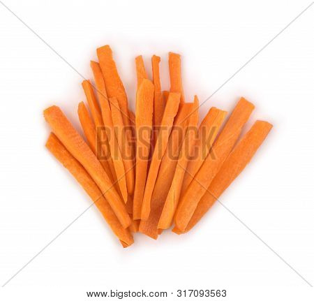 Slicing Carrot Heap Isolated On White Background