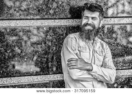 Beard Grooming. Guy Masculine Appearance With Long Beard. Barber Concept. Beard Care. Man Attractive