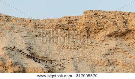 Sand Hill For Construction Work. Summer Golden Sand.