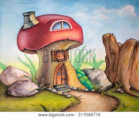 Cute mushroom house in a sunny landscape. Watercolor illustration.