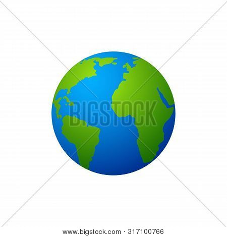 Earth Globe Vector Illustration, Earth Globe Icon Vector On White Background, Earth Globe Vector Des