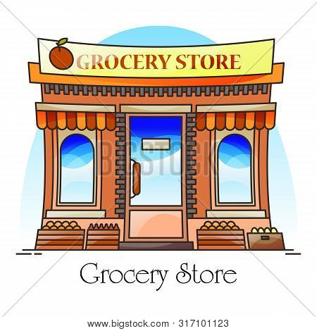 Grocery Shop Or Natural Goods Store, Market With Counter For Fruits And Vegetables. Stall With Food