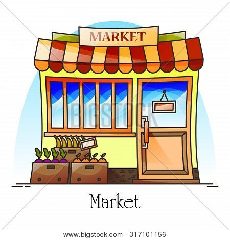 Food Market Or Bazaar With Grocery Like Banana, Orange. Counter Or Stall At Facade For Retail. Exter