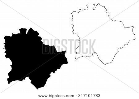 Municipality Of Budapest (hungary, Hungarian Counties) Map Vector Illustration, Scribble Sketch Buda