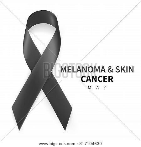 Melanoma And Skin Cancer Awareness Month. Realistic Black Ribbon Symbol. Medical Design. Vector Illu