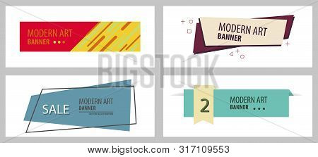 Set Of Vintage Trendy With Text . Colorful Old Banner With Element For Design - Banners, Posters, Gi