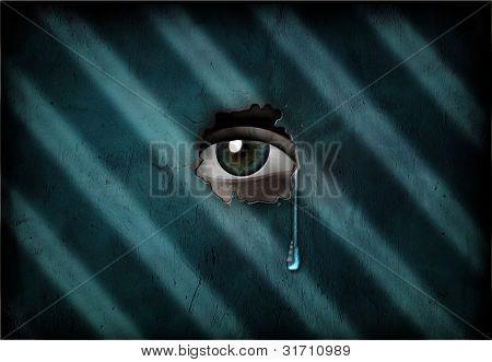Eye peers through Wall with Tear