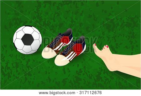 Summer Background, Vector Illustration With Female Legs, Ball