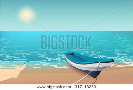 Summer Background, Vector Illustration With A View Of The Beach