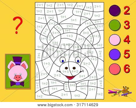 Educational Page With Exercises For Children On Addition. Need To Solve Examples And Paint The Portr
