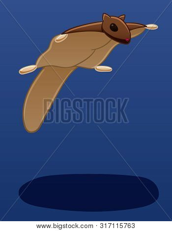 A Flying Squirrel Levitates In The Air. There Is Shadow Below It On The Ground. Blue Background, Vec