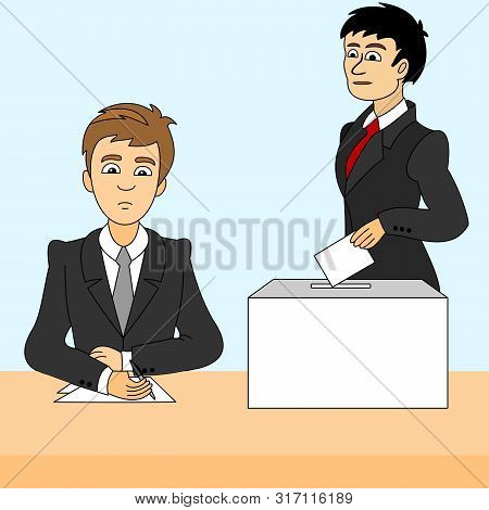 A Man Inserts A Ballot Paper Into The Ballot Box That Stands On The Table. Another Man Records The P