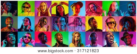 Beautiful People Portrait Isolated On Bright Neon Light Backgroud. Young, Smiling, Surprised, Scream