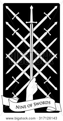 Nine of swords. Tarot cards. Eight crossed swords and a hand grasping a sword tip poster
