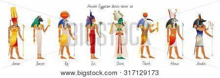 Ancient God Goddess From Egypt Icon Set. Amun Ra, Bastet, Isis, Osiris, Thoth, Horus, Anubis. Egypti