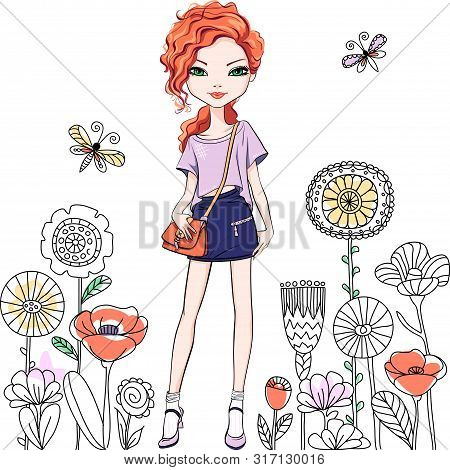 Cute Beautiful Redhead Girl With Long Hair In T-shirt And Skirt, With Bag