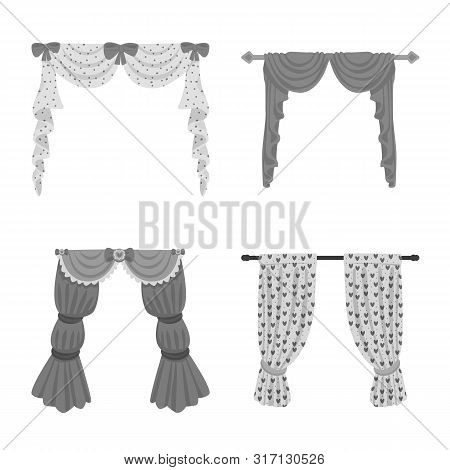 Isolated Object Of Interior And Cornice Icon. Set Of Interior And Drapes Vector Icon For Stock.