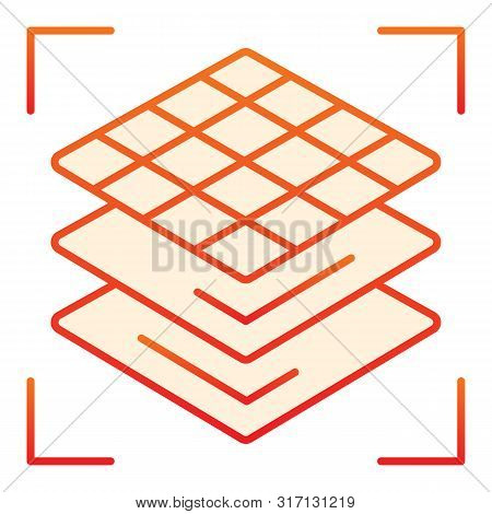 3d Square Layers Flat Icon. 3d 3d Layering Design Orange Icons In Trendy Flat Style. 3d Modeling Lay