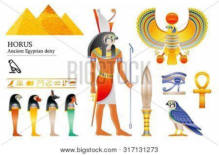 Ancient Egyptian God Horus Icon Set. Falcon Deity, Pyramid, Dagger, Bird, Ankh, Four Sons Of Horus,