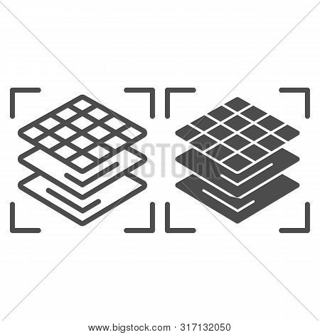 3d Square Layers Line And Glyph Icon. 3d Layering Design Vector Illustration Isolated On White. 3d M