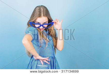 Falling In Love With My Goggles. Adorable Little Girl Wearing Fancy Goggles. Cute Smal Child With Fa