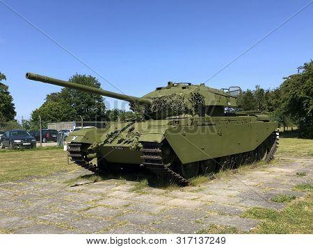 Rødvig Stevns, Seeland, Denmark - July 18, 2019: Centurion Tank Displayed At The Cold War Museum At