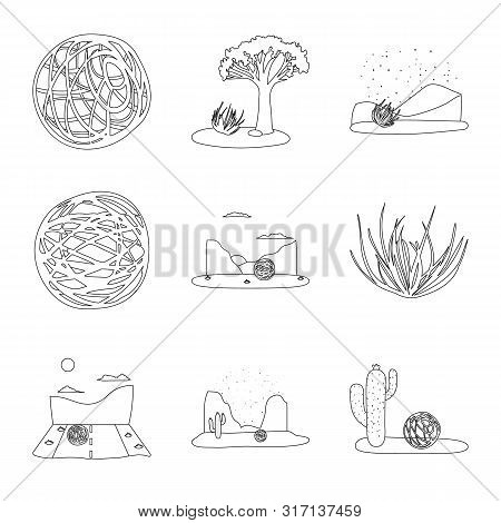 Vector Illustration Of Wilderness And Texas Symbol. Collection Of Wilderness And Pasture Vector Icon