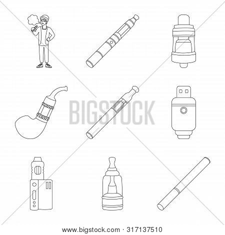 Vector Design Of Nicotine And Filter Sign. Collection Of Nicotine And Pipe Stock Vector Illustration