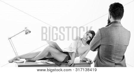 Its More Than Just Flirtation. Flirtatious Girl. Gorgeous Businesswoman Enjoying Flirtation With Bus