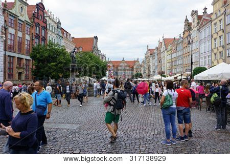 Gdansk, Poland - August 12, 2019: Tourists Visiting the