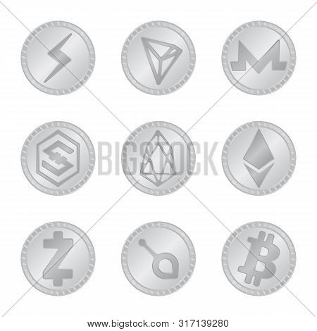 Vector Illustration Of Cryptography And Finance Icon. Set Of Cryptography And E-business Vector Icon