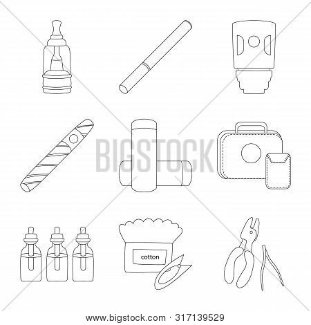 Vector Design Of Nicotine And Filter Sign. Set Of Nicotine And Pipe Stock Symbol For Web.