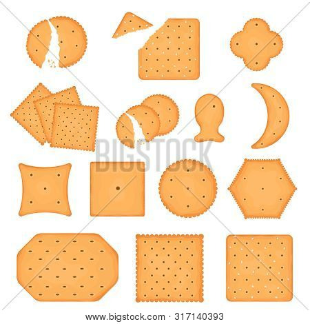 Cartoon Color Cracker Chips Icon Set Include Of Crunchy Different Shape Cookie. Vector Illustration