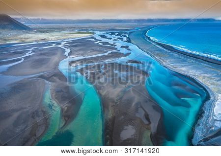 Aerial View South-eastern Iceland. Overwhelming View Of Icelandic River Landscape Of Amazing Norther