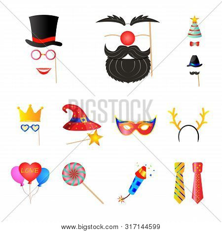 Vector Design Of Party And Birthday Sign. Set Of Party And Celebration Vector Icon For Stock.