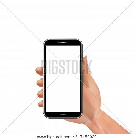 Realistic Man Hand Holding Smartphone With Blank Touch Screen Isolated On White Background. Template