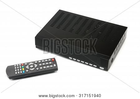 Digital Tv Tuner With Remote Control On An Isolated White Background