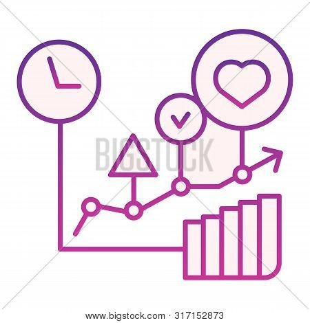 Commodity Turnover Flat Icon. Business Graph Violet Icons In Trendy Flat Style. Trade Schedule Gradi