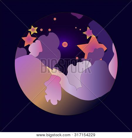 Vector Illustration. Night Sky With Clouds And Stars. Style Flat.