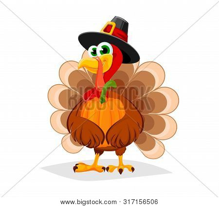 Thanksgiving Day. Funny Cartoon Character Turkey Bird In Pilgrim Hat Holds Pumpkin. Vector Illustrat